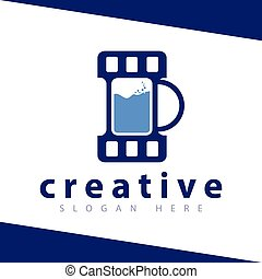 Drink Film logo icon Vector template