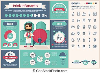 Drink flat design Infographic Template