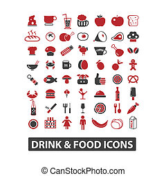 drink & food icons set, vector