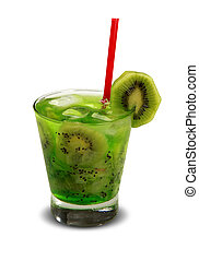 Drink fresh kiwi with ice isolated on white background