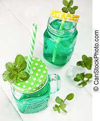 Drink fresh mint with ice.