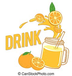 Drink Fresh Orange And Glass With Juice Vector Image