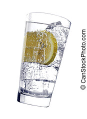 Drink - Glass with fizzy liquid and lemon slice