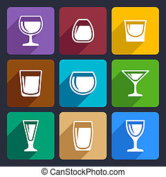 Drink glasses icons set 16
