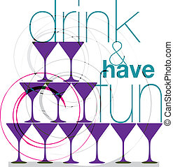 Drink & have fun. Vector Illustration