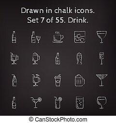 Drink icon set drawn in chalk.