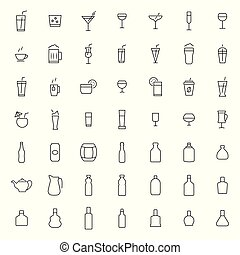 Drink icon set in thin line style