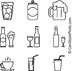 Drink Icons Line Art Isolated Set Vector Illustration