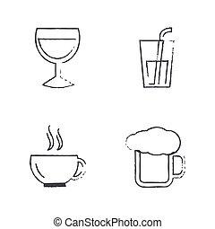 Drink Icons Set Draw