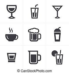 Drink Icons Set, Vector Design