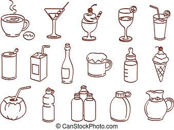 drink, ikon, sæt