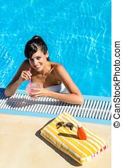 Drink in summer pool