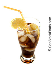 drink in tall glass - dark drink with lemon and ice on white...