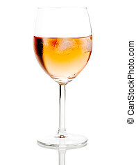 Drink in wine glass with ice cubes
