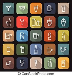 Drink line flat icons with long shadow