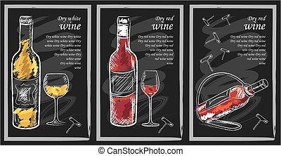 Drink menu elements on chalkboard. Restaurant blackboard for...