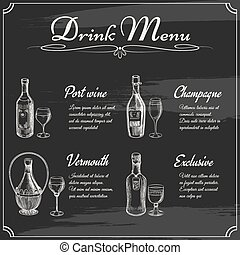 Drink menu elements on chalkboard