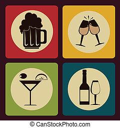 drink menu over  background vector illustration