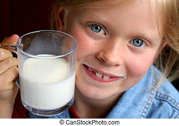 Drink milk! - Little girl and milk