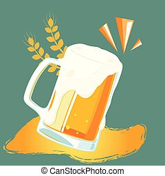 Drink Mug Of Beer Barley Background Vector Image