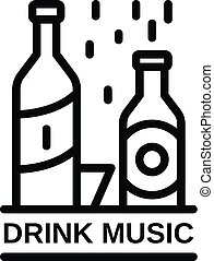 Drink music icon, outline style
