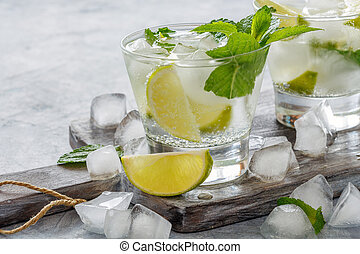 Drink of lime and mint with ice cubes.
