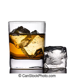 Drink on the rocks - A drink on the rocks with ice-cube
