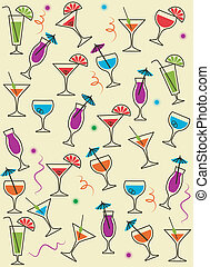 drink or cocktail collection isolated on a white background