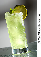 drink - cold fresh cocktail drink with mint close up
