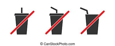 Drink prohibited symbols. Do not drink icon.