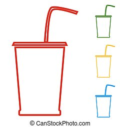 Drink. Set of line icons