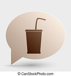 Drink sign illustration. Brown gradient icon on bubble with shadow.