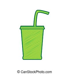 Drink sign illustration. Vector. Lemon scribble icon on white background. Isolated