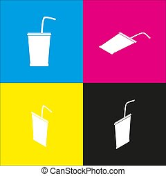 Drink sign illustration. Vector. White icon with isometric projections on cyan, magenta, yellow and black backgrounds.