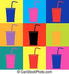 Drink sign. Pop-art style icons set