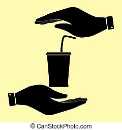 Save or protect symbol by hands. - Drink sign. Save or...
