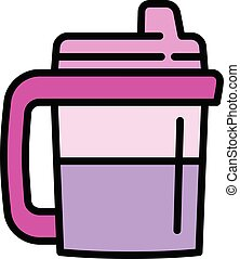 Drink sippy cup icon, outline style - Drink sippy cup icon. ...