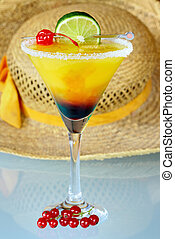 Drink - Summer alcoholic recreational drink with cherry and...