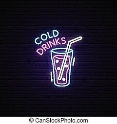 drink., teken., neon, glas, gloeiend, koude