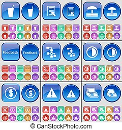 Drink, Text file, Umbrella, Feedback, Network, Brightness, Dollar, Warning, Printer. A large set of multi-colored buttons. Vector