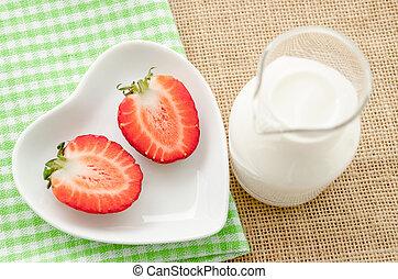 drink., truskawki, mleczny