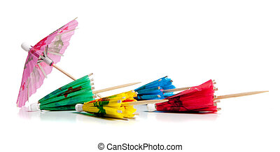 colorgul drink umbrella toothpicks on a white background
