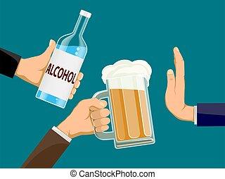 drink., un altro, persone, bottiglia, vetro, birra, presa a terra, refuses, alcool, hands., uomo