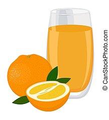 drink., verre, fruit., tranches, illustration, jus, vecteur, fond, orange, blanc