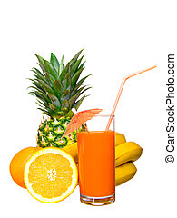 drink with fruit on a white background.
