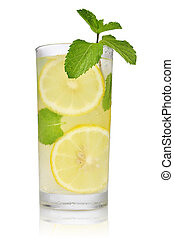 Drink with lemon, ice and mint isolated on white background