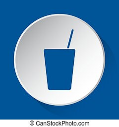 drink with straw, simple blue icon on white button