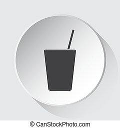 drink with straw, simple gray icon on white button
