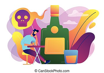 Drinking alcohol concept vector illustration.