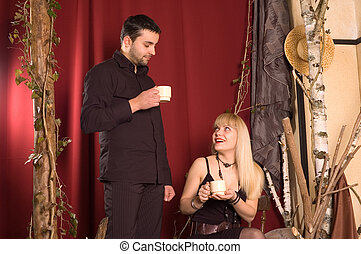 Drinking coffe